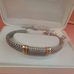 Jewelry - Nwt Sterling silver bling Rhinestone cuff bangle